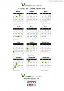 Calendario laboral 2016 Vitoria Gasteiz Álava